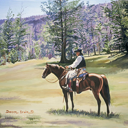 Equestrian Oil Painting 'Wyoming Wrangler' by Doreen Irwin