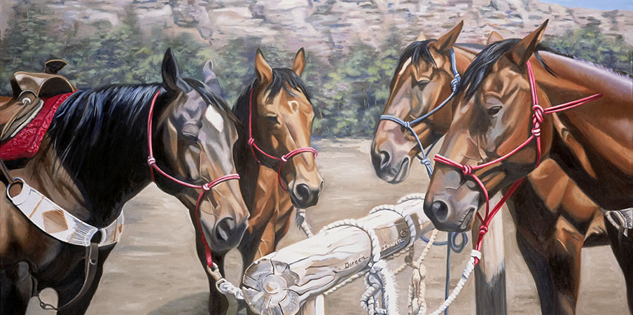 Equestrian Oil Painting 'Waiting for Dudes' by Doreen Irwin